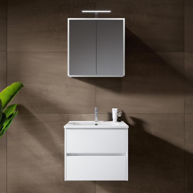 Riho Porto Square Waschtisch mit Waschtischunterschrank und LED-Spiegelschrank Front weiß hochglanz / Korpus weiß hochglanz