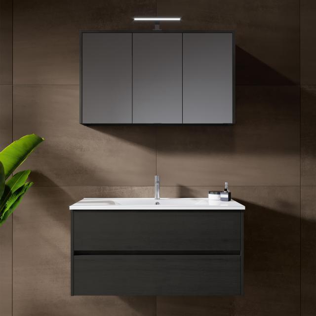 Riho Porto Wave Waschtisch mit Waschtischunterschrank und LED-Spiegelschrank Front eiche dunkelgrau / Korpus eiche dunkelgrau