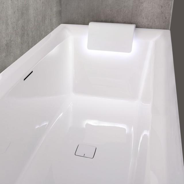 Riho Still Square Rechteck-Badewanne mit 2 Kopfstützen und LED-Beleuchtung, Einbau mit Füllfunktion