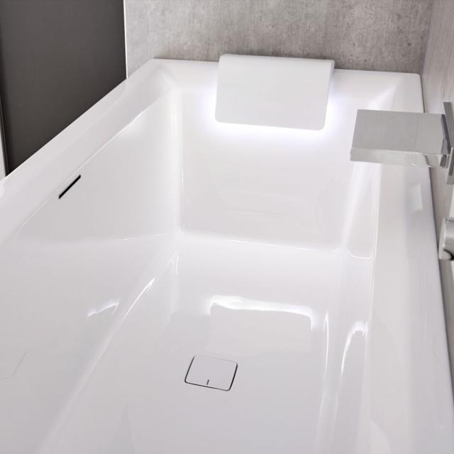 Riho Still Square Rechteck-Badewanne mit 2 Kopfstützen und LED-Beleuchtung, Einbau ohne Füllfunktion