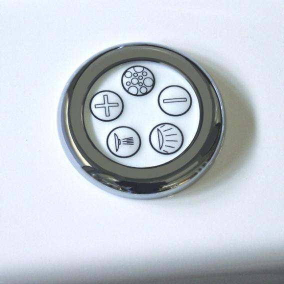 Reuter Kollektion Komfort Eck Whirlwanne mit Whirlsystem Premium mit Ab- und Überlaufgarnitur mit Wassereinlauf