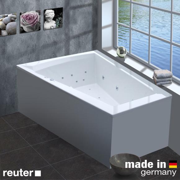 Reuter Kollektion Komfort Eck-Whirlwanne Premium, Einbau mit Hydra-Jet, mit Wanneneinlauf