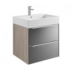 Roca Inspira Waschtisch mit Waschtischunterschrank mit 2 Auszügen Front anthrazit/verspiegelt / Korpus city eiche