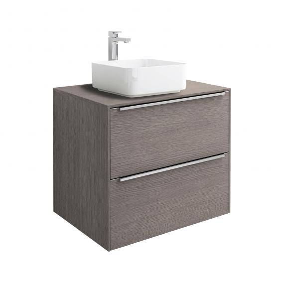 Roca Inspira Aufsatzwaschtisch square mit Waschtischunterschrank mit 2 Auszügen mit MaxiClean, Front city eiche / Korpus city eiche