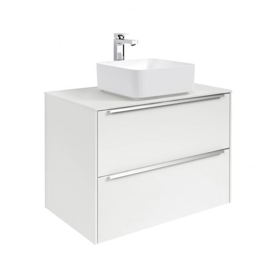 Roca Inspira Aufsatzwaschtisch square mit Waschtischunterschrank mit 2 Auszügen Front weiß glanz / Korpus weiß glanz