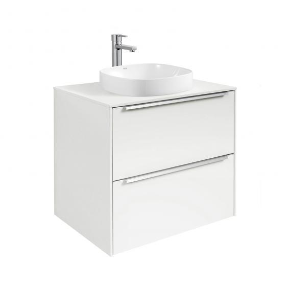 Roca Inspira Halbeinbau-Waschtisch soft mit Waschtischunterschrank mit 2 Auszügen Front weiß glanz / Korpus weiß glanz