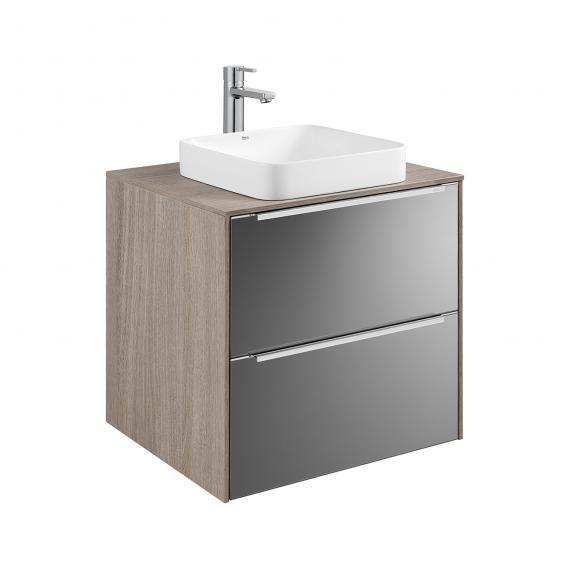 Roca Inspira Halbeinbau-Waschtisch square mit Waschtischunterschrank mit 2 Auszügen Front anthrazit/verspiegelt / Korpus city eiche