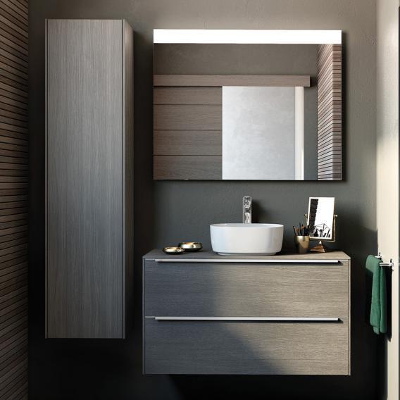 Roca Inspira LED-Hochschrank mit 1 Tür und 1 Spiegel Front city eiche / Korpus city eiche