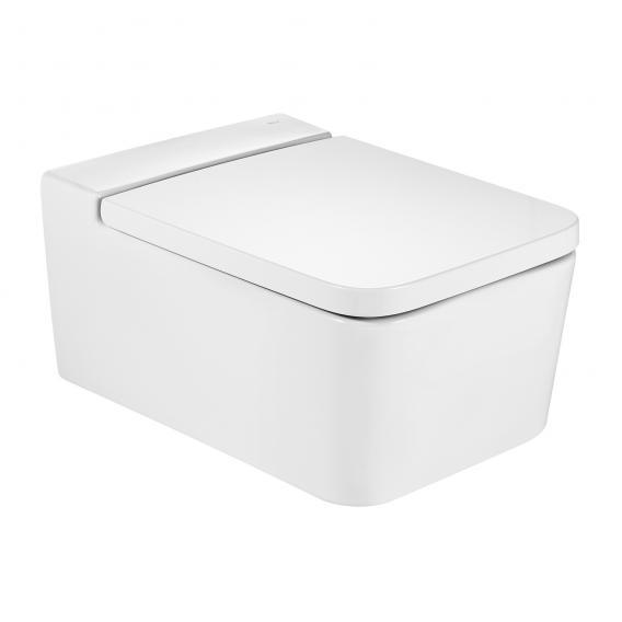 Roca Inspira Wand-Tiefspül-WC square mit WC-Sitz weiß, mit MaxiClean