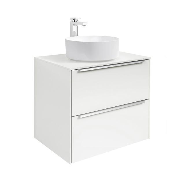 Roca Inspira Aufsatzwaschtisch round mit Waschtischunterschrank mit 2 Auszügen mit MaxiClean, Front weiß glanz / Korpus weiß glanz