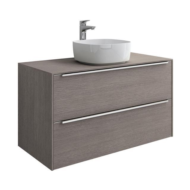Roca Inspira Aufsatzwaschtisch soft mit Waschtischunterschrank mit 2 Auszügen Front city eiche / Korpus city eiche