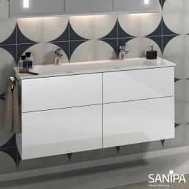 Sanipa 3way Doppelwaschtisch Design mit Waschtischunterschrank mit 4 Auszügen Front weiß glanz / Korpus weiß glanz, mit Tip-on-Technik