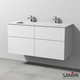 Sanipa 3way Doppelwaschtisch Design mit Waschtischunterschrank mit 4 Auszügen Front weiß soft / Korpus weiß soft, mit Tip-on-Technik