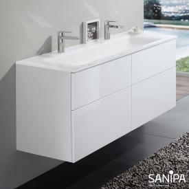 Sanipa 3way Doppelwaschtisch mit Waschtischunterschrank mit 4 Auszügen Front weiß glanz / Korpus weiß glanz, mit Tip-on-Technik