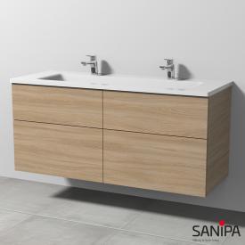 Sanipa 3way Doppelwaschtisch mit Waschtischunterschrank mit 4 Auszügen Front ulme impresso / Korpus ulme impresso, mit Tip-on-Technik