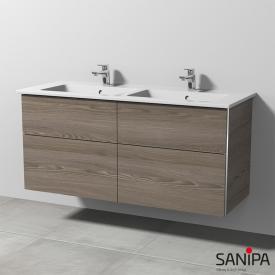Sanipa 3way Doppelwaschtisch Venticello mit Waschtischunterschrank mit 4 Auszügen Front pinie grau / Korpus pinie grau, mit Griffleiste