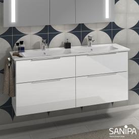 Sanipa 3way Doppelwaschtisch Venticello mit Waschtischunterschrank mit 4 Auszügen Front weiß glanz / Korpus weiß glanz, mit Griff