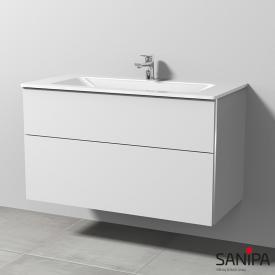 Sanipa 3way Glas-Waschtisch mit Waschtischunterschrank mit 2 Auszügen Front weiß soft/Korpus weiß soft, mit Griffleiste
