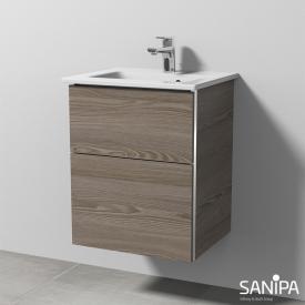 Sanipa 3way Waschtisch Venticello Waschtischunterschrank mit 2 Auszügen Front pinie grau / Korpus pinie grau, mit Griffleiste