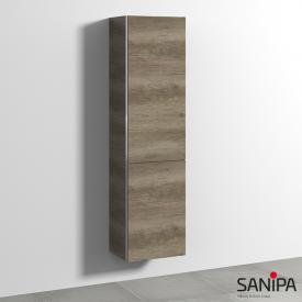 Sanipa 3way Hochschrank mit 1 Tür und 1 Wäschekippe Front eiche nebraska / Korpus eiche nebraska, mit Griffleiste