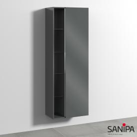Sanipa 3way Hochschrank mit 1 Tür und Seitenregal Front anthrazit glanz / Korpus anthrazit glanz, mit Griffleiste