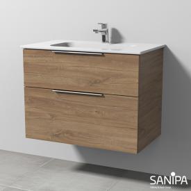 Sanipa 3way Waschtisch Design mit Waschtischunterschrank mit 2 Auszügen Front eiche kansas / Korpus eiche kansas, mit Griff