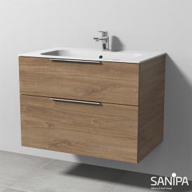 Sanipa 3way Waschtisch Finion mit Waschtischunterschrank mit 2 Auszügen Front eiche kansas / Korpus eiche kansas, mit Griff