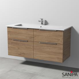 Sanipa 3way Waschtisch Venticello mit Waschtischunterschrank mit 4 Auszügen Front eiche kansas / Korpus eiche kansas, mit Griff