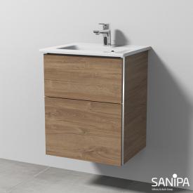 Sanipa 3way Waschtisch Venticello Waschtischunterschrank mit 2 Auszügen Front eiche kansas / Korpus eiche kansas, mit Griffleiste