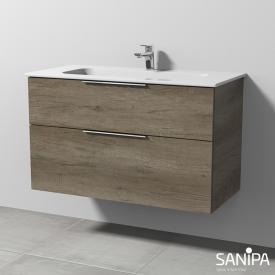 Sanipa 3way Waschtisch Design mit Waschtischunterschrank mit 2 Auszügen Front eiche nebraska / Korpus eiche nebraska, mit Griff