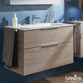 Sanipa 3way Waschtisch Design mit Waschtischunterschrank mit 2 Auszügen Front pinie grau / Korpus pinie grau, mit Griff