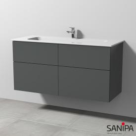 Sanipa 3way Waschtisch Design mit Waschtischunterschrank mit 4 Auszügen Front anthrazit matt / Korpus anthrazit matt, mit Tip-on-Technik