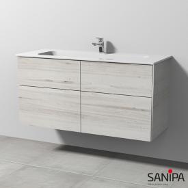 Sanipa 3way Waschtisch Design mit Waschtischunterschrank mit 4 Auszügen Front linde hell / Korpus linde hell, mit Griffleiste