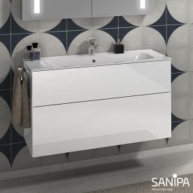 Sanipa 3way Waschtisch Finion mit Waschtischunterschrank mit 2 Auszügen Front weiß glanz / Korpus weiß glanz, mit Tip-on-Technik
