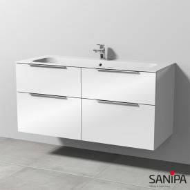 Sanipa 3way Keramik-Waschtisch Finion mit Waschtischunterschrank mit 4 Auszügen Front weiß glanz / Korpus weiß glanz, mit Griff