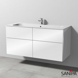 Sanipa 3way Keramik-Waschtisch Finion mit Waschtischunterschrank mit 4 Auszügen Front weiß glanz / Korpus weiß glanz, mit Griffleiste