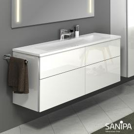 Sanipa 3way Waschtisch mit Waschtischunterschrank mit 4 Auszügen Front weiß glanz / Korpus weiß glanz, mit Griffleiste