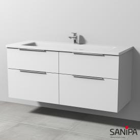 Sanipa 3way Waschtisch mit Waschtischunterschrank mit 4 Auszügen Front weiß soft / Korpus weiß soft, mit Griff