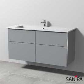 Sanipa 3way Waschtisch Venticello mit Waschtischunterschrank mit 4 Auszügen Front steingrau / Korpus steingrau, mit Griffleiste