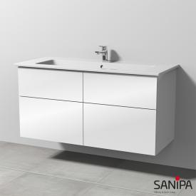 Sanipa 3way Waschtisch Venticello mit Waschtischunterschrank mit 4 Auszügen Front weiß glanz / Korpus weiß glanz, mit Tip-on-Technik