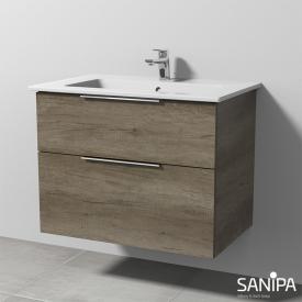 Sanipa 3way Waschtisch Venticello Waschtischunterschrank mit 2 Auszügen Front eiche nebraska / Korpus eiche nebraska, mit Griff