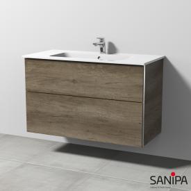 Sanipa 3way Waschtischunterschrank mit 2 Auszügen für ME by Starck Front eiche nebraska/ Korpus eiche nebraska