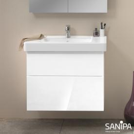 Sanipa 3way Waschtischunterschrank mit 2 Auszügen für Omnia Architectura Front weiß glanz/ Korpus weiß glanz