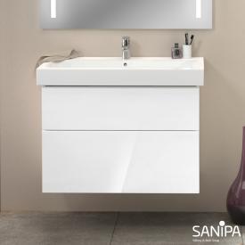 Sanipa 3way Waschtischunterschrank mit 2 Auszügen für iCon Front weiß glanz/ Korpus weiß glanz