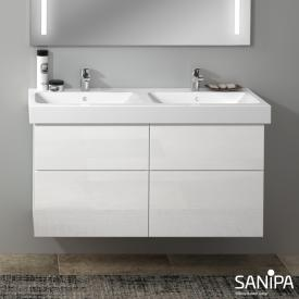 Sanipa 3way Waschtischunterschrank für Doppelwaschtisch iCon mit 4 Auszügen Front weiß glanz/ Korpus weiß glanz