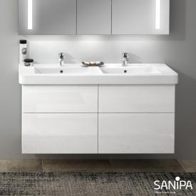 Sanipa 3way Waschtischunterschrank für Doppelwaschtisch Omnia Architectura mit 4 Auszügen Front weiß glanz/ Korpus weiß glanz
