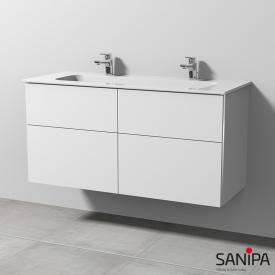 Sanipa 3way Waschtischunterschrank mit 4 Auszügen inkl. Keramik-Doppelwaschtisch Design Front weiß soft/ Korpus weiß soft mit Griffleiste