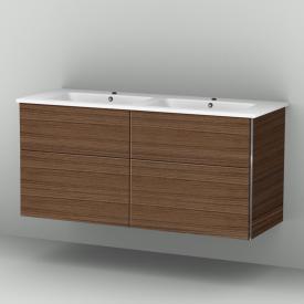 Sanipa 3way Waschtischunterschrank mit 4 Auszügen inkl. Keramik-Doppelwaschtisch Venticello Front kirsche natural touch/ Korpus kirsche natural touch