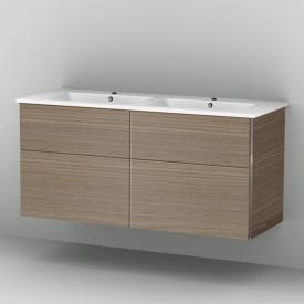 Sanipa 3way Waschtischunterschrank mit 4 Auszügen inkl. Keramik-Doppelwaschtisch Venticello Front ulme natural touch/ Korpus ulme natural touch