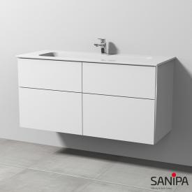 Sanipa 3way Waschtischunterschrank mit 4 Auszügen inkl. Keramik-Waschtisch Design Front weiß soft/ Korpus weiß soft mit Griffleiste